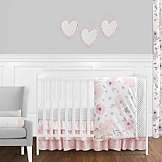 Sweet Jojo Designs Watercolor Floral Crib Bedding Collection In Pink/Grey