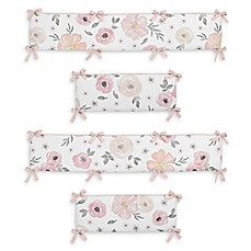 image of Sweet Jojo Designs Watercolor Floral 4-Piece Crib Bumper Set in Pink/Grey