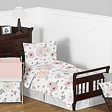 image of Sweet Jojo Designs Watercolor Floral 5-Piece Toddler Bedding Set in Pink/Grey
