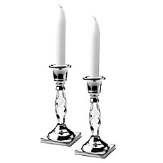 image of Classic Touch Relic Candle Holders in Silver (Set of 2)