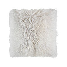 image of Cloud9 Design Mongolian Fur 18-Inch Square Throw Pillow in Ivory