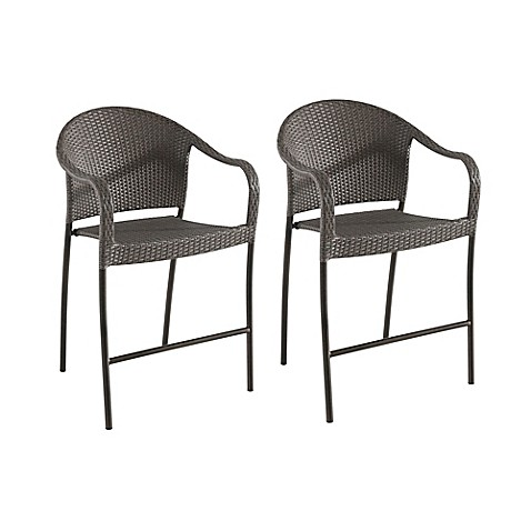 Barrington Stacking Wicker Balcony Bar Chairs Set Of 2