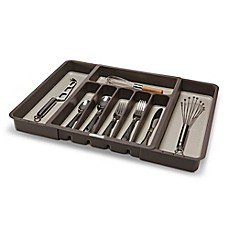 Kitchen Utensil Organizer Drawer Kitchen drawer organizers dividers utensil organizers bed bath madesmart expandable cutlery tray in grey workwithnaturefo