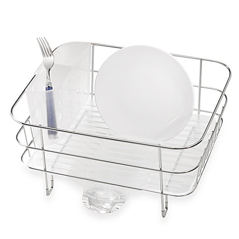 simplehuman compact stainless steel dish rack bed bath beyond. Black Bedroom Furniture Sets. Home Design Ideas