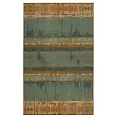 Image Of Mohawk Home Heirloom Painterly Stripe Area Rug In Turquoise Brown