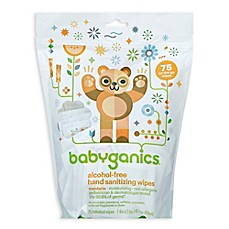 image of Babyganics® 75-Count Mandarin Scented Alcohol-Free Hand Sanitizing Wipes