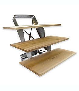 Charcoal Companion Repisa triple de asador para ahumar de acero inoxidable y madera de cedro