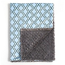 image of Baby Laundry® Minky Lattice/Tile Blanket in Blue/Grey