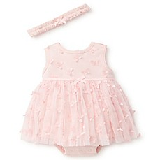 image of Little Me® 2-Piece Butterfly Tulle Bodysuit and Headband Set in Pink