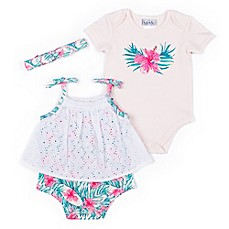 image of Nicole Miller 3-Piece Palms Bodysuit, Romper and Headband Set in Peach