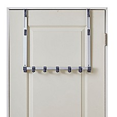BathSense Over The Door Adjustable Telescopic Hook Rack In Aluminum