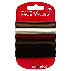 image of Harmon® Face Values™ 30-Count Thin Elastic Band Ponytail Holders in Natural