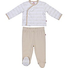 image of E=MC2 2-Piece Magnetic Animal Parade Kimono and Pant Set in Oatmeal