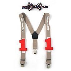 "image of Rising Star™ 2-Piece ""Birthday Boy"" Suspender and Bow Tie Set"