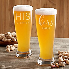 image of His & Hers Personalized Beer Pilsner Glass