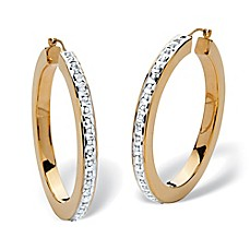 image of Palm Beach Jewelry 14K Yellow 39mm Gold Nano Diamond Fascination Hoop Earrings