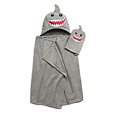 image of Shark Hooded Bath Wrap with Mitt in Brown