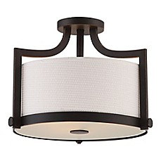 image of Filament Design Russet 3-Light Semi-Flush Mount Ceiling Light in Bronze