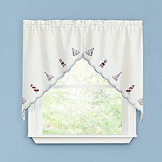 image of Lighthouse Kitchen Window Curtain Swag Pair
