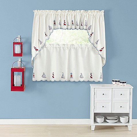 Lighthouse Kitchen Window Curtain Tiers And Valance Bed