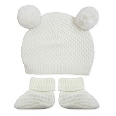 image of Toby™ NYGB 2-Piece Quilted Double Pom Hat and Booties Take Me Home Set in Ivory