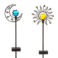 image of Solar Sun & Moon Garden Stake Set