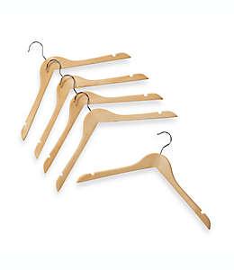 Ganchos de madera natural para colgar camisas, Set de 5 pzas.