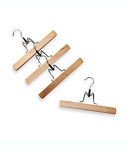 Ganchos de madera natural con abrazaderas para colgar pantalones, Set de 4 pzas.