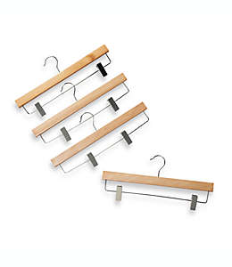 Ganchos de madera con abrazaderas para colgar faldas, Set de 4 pzas.