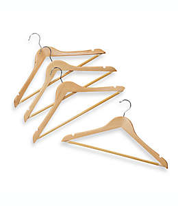 Ganchos de madera natural con barra para colgar trajes, Set de 4 pzas.
