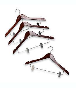 Ganchos de madera con pinzas para colgar trajes color café, Set de 4 pzas.