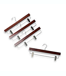 Ganchos de madera para faldas de 27.94 cm color café, Set de 4 pzas.