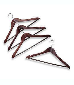 Ganchos de madera para trajes, de 43.18 cm en café, Set de 4