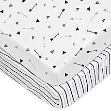 image of TL Care® 2-Pack Arrow and Stripe Fitted Cotton Playard Sheets in Silver/Black