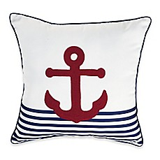 image of Destination Summer Anchor Stripe Square Outdoor Throw Pillow in Red