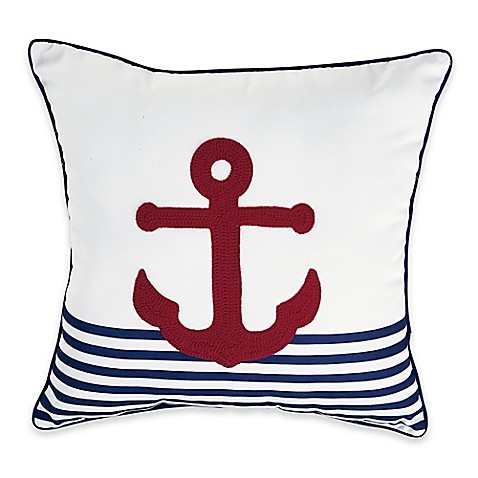 Perfect Destination Summer Anchor Stripe Square Outdoor Throw Pillow In Red Nice Ideas