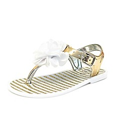 image of Stepping Stones High Shine Jelly Sandal with Lycra Flower in Gold/White