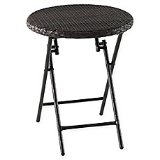 Barrington Wicker Round All Weather Folding Accent Table