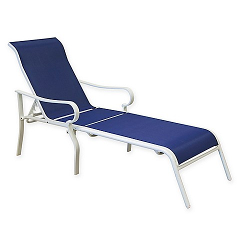 Summerwinds aluminum chaise lounge in blue white bed for Blue chaise lounge