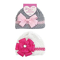 image of Stepping Stones 2-Piece Flower Hat Set in Pink/Grey