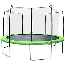 image of Pure Fun® Dura-Bounce 15-Feet Trampoline with Enclosure in Green