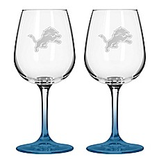 image of NFL Detroit Lions Satin Etched Wine Glasses (Set of 2)