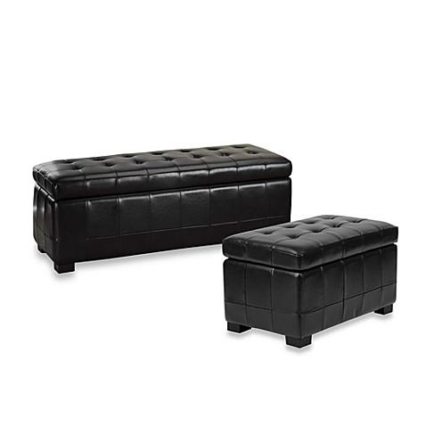 Safavieh Hudson Leather Manhattan Storage Bench Brown Bed Bath Beyond
