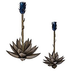 image of Desert Steel Blue Agave Steel Garden Torch