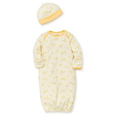 image of Little Me® 2-Piece Ducks Gown and Hat Set in Yellow