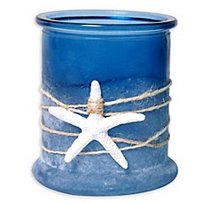 image of Nautical Frosted Glass Candle Holder with Starfish & Rope in Blue