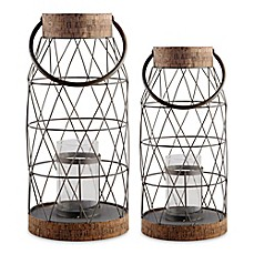 image of Home Essentials & Beyond Rustic Metal and Cork Hurricane Candle Holder
