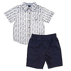 image of Nautica 2-Piece Fish Woven Shirt and Short Set in White/Chambray