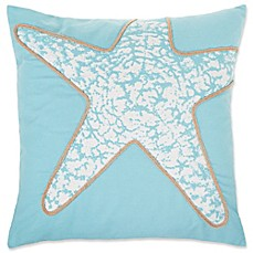 image of Starfish Square Throw Pillow Cover in Spa