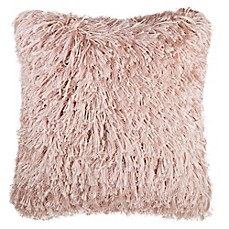 image of Make-Your-Own-Pillow North Shag Square Throw Pillow Cover in Blush